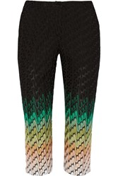 Missoni Cropped Crochet Knit Straight Leg Pants Black