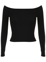 Miss Selfridge Long Sleeve Rib Bardot Top Black