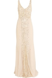 Rachel Gilbert Olivia Sequin Embellished Tulle Gown Pink