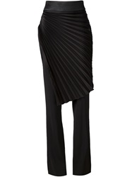 Emanuel Ungaro Pleated Layer Flared Trousers Black