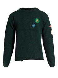 Raf Simons Badge Applique Distressed Wool Sweater Green
