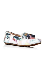 Moda In Pelle Elda Flat Moccasin Shoes Graphic Floral Print