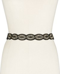 Inc International Concepts Oval Beaded Scallop Stretch Belt Only At Macy's Black Silver