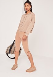 Missguided Cropped Tie Knee Leggings Nude Beige
