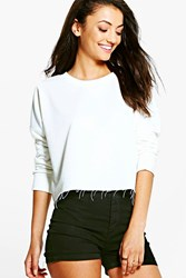 Boohoo Macia Raw Hem Oversized Boxy Crop Sweat Cream