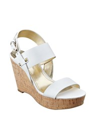 Ivanka Trump Gareno Leather Platform Wedge Sandals White