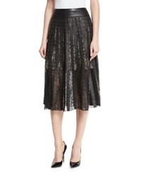 Alice Olivia Tianna Studded Leather And Floral Lace Skirt Black