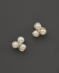 Bloomingdale's Cultured Freshwater Pearl And Diamond Earrings In 14K Yellow Gold Gold White