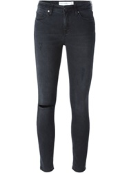 Victoria Beckham Denim Distressed Skinny Jeans Black
