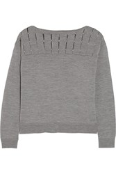 Milly Embellished Wool Sweater Gray