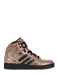 Adidas By Jeremy Scott Python Printed Leather High Top Sneakers