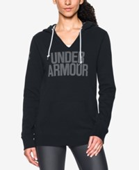 Under Armour Favorite Fleece Logo Pullover Hoodie Black White