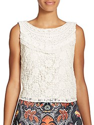 Alice Olivia Finlay Embroidered Lace Shell Cream