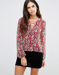 Tfnc Printed Tie Up Detail Top Red