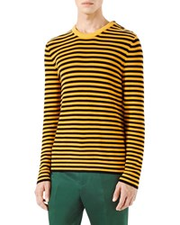 Gucci Striped Knit Crewneck Sweater Yellow Black Yellow Black