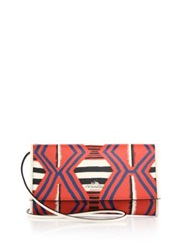 Coach Multicolor Abstract Print Textured Leather Clutch
