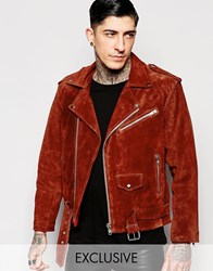 Reclaimed Vintage Suede Biker Jacket Rust Red