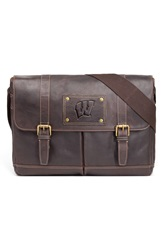 Jack Mason Brand 'Wisconsin Badgers Gridiron' Leather Messenger Bag Brown