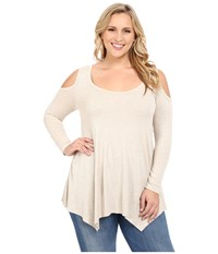 Christin Michaels Plus Size Rylan Ribbed Cold Shoulder Top Cream Women's Clothing Beige