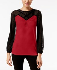 August Silk Colorblocked Illusion Top Uno Red