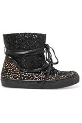 Inuikii Leon Sequin Embellished Leather And Leopard Print Calf Hair Boots Black