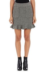 Harvey Faircloth Women's Wool Herringbone Miniskirt Grey