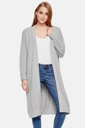 Vince Camuto Open Front Cable Knit Duster Cardigan Gray