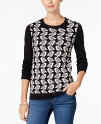 Charter Club Bird Print Sweater Only At Macy's Deep Black Combo
