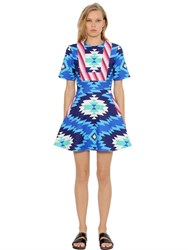 House Of Holland Printed Cotton Canvas Flared Dress