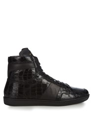 Saint Laurent Crocodile Effect Leather High Top Trainers Black