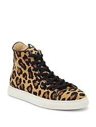 Charlotte Olympia Purrrfect Cat Embroidered Leopard Calf Hair Sneakers