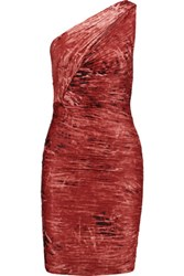 Halston Heritage One Shoulder Ruched Printed Jersey Mini Dress Claret