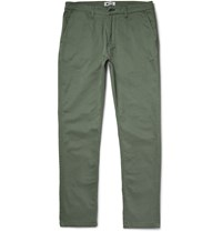 Nn.07 Marco Slim Fit Stretch Cotton Twill Trousers Gray Green
