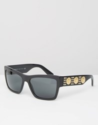 Versace Square Sunglasses With Repeat Side Medusa Black