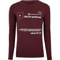 River Island Mens Dark Red Print Muscle Fit Long Sleeve T Shirt