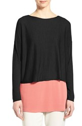 Women's Eileen Fisher Merino Knit Crop Long Sleeve Sweater Black
