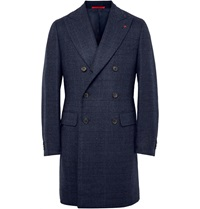 Isaia Glen Plaid Double Faced Wool Overcoat Blue