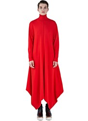 Stella Mccartney Oversized Felted Roll Neck Dress Red