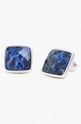 David Donahue Sterling Silver Cuff Links Silver Blue