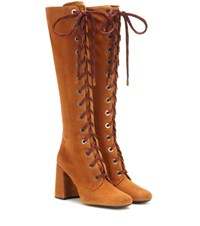 Prada Suede Knee High Boots Brown