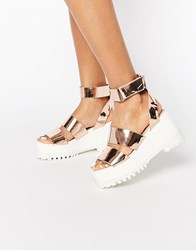 Asos Tease Me Chunky Sandals Rose Gold White