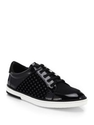 Jimmy Choo Sydney Velvet And Patent Leather Sneakers Black