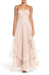 Watters Women's 'Florian' Strapless Horsehair Ruffle Tulle A Line Gown Blush
