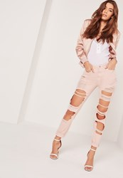 Missguided High Rise Extreme Rip Slim Leg Jeans Pink Pink