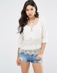 Gypsy 05 3 4 Sleeve Blouse With Crochet Trim Dipti White