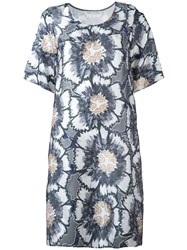 Tsumori Chisato Floral Print T Shirt Dress Grey