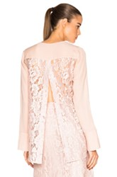 Tome V Neck Shirt With Lace Back In Pink