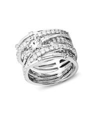Crislu Center Stone Cubic Zirconia Sterling Silver And Platinum Roxy Stack Ring