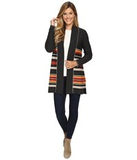 Pendleton Park Stripe Cardigan Charcoal Heather Multi Women's Sweater Gray
