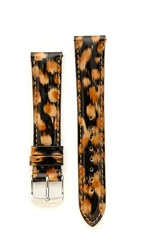 Michele 18Mm Patent Leather Watch Strap Cheetah